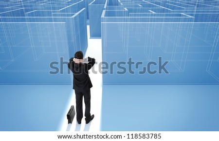 """Make a difficult decision. Achieving the goal. Without the sign """"Welcome"""" on the wall. Blueprint. Encounter difficulties. Businessman standing in front of the entrance to the maze. - stock photo"""