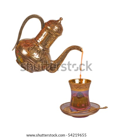 Make a tea in oriental cup - stock photo