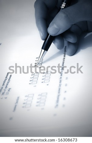 Make a test exam with multiple choose - stock photo