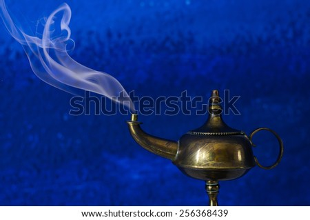Make a Wish Concept - Aladdin Lamp - stock photo