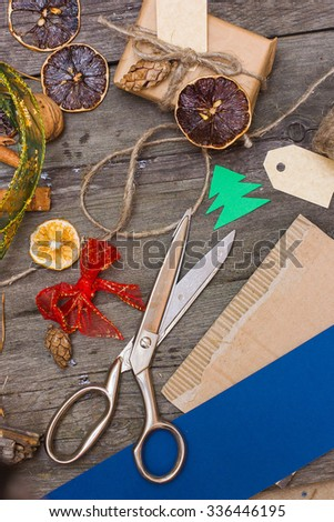 make Christmas decorations, handmade, craft, rustic style - stock photo