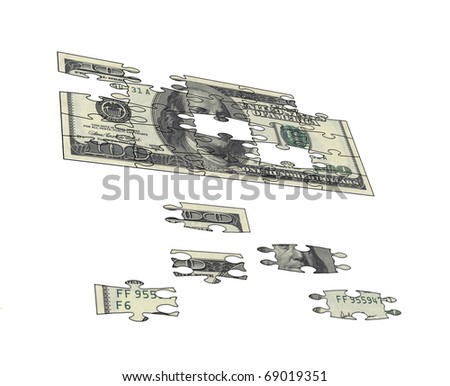Make 100 dollar banknote from puzzle - stock photo