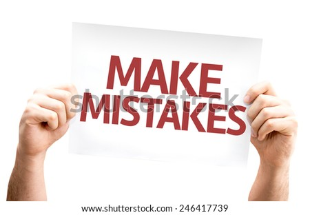 Make Mistakes card isolated on white background - stock photo