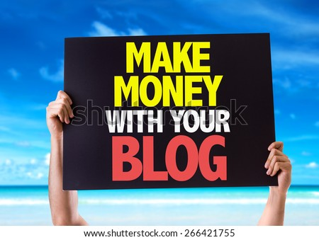 Make Money With Your Blog card with beach background - stock photo