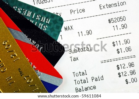 Make the purchase and pay with credit cards - stock photo