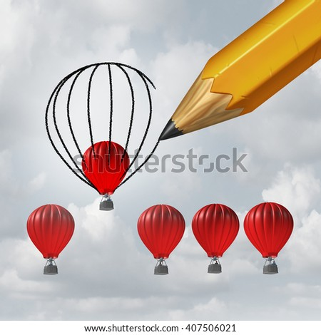Make things better and improvement concept as a group of competing air balloons as one individual winner is helped by a pencil drawing a bigger shape for an advantage with 3D illustration elements. - stock photo