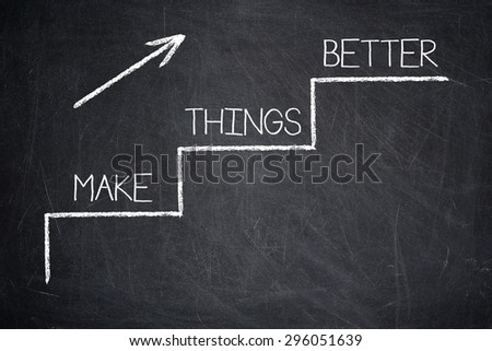 MAKE THINGS BETTER motivational quote written on a blackboard - Improvement Concept  - stock photo