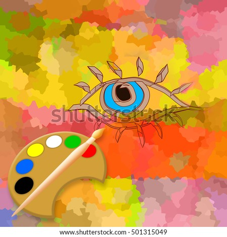 Make up, abstract eye, brush and palette