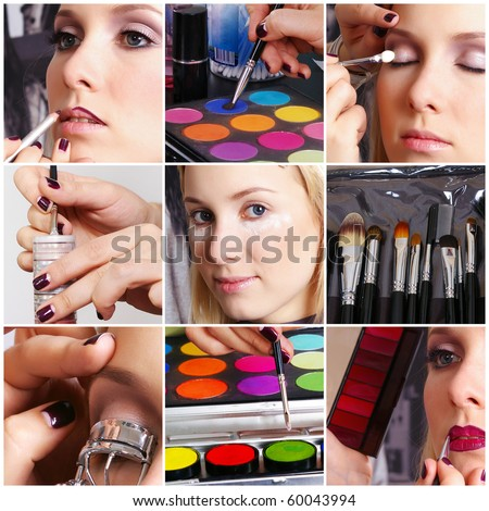 Make-up artist and her client - stock photo