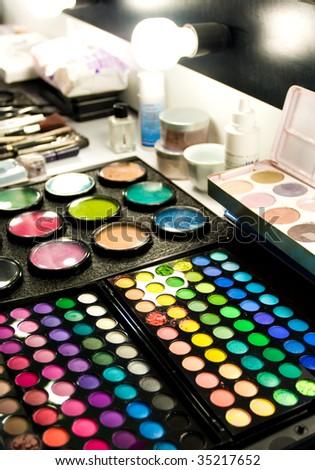 make up at the studio - stock photo