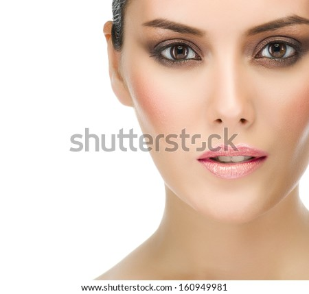 make up , beauty woman face,  portrait of attractive young caucasian girl brunette , close up , isolated on white , studio shot ,  looking at camera, eyes, lips - stock photo