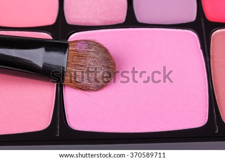 Make-up blush palette with professional brush, closeup