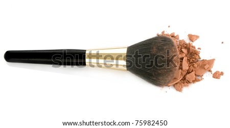 Make-up brush and brown powder isolated on white background - stock photo