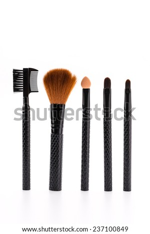 Make up brush isolated on white - stock photo
