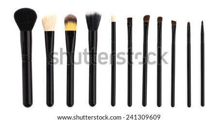 Make up brush isolated on white background - stock photo