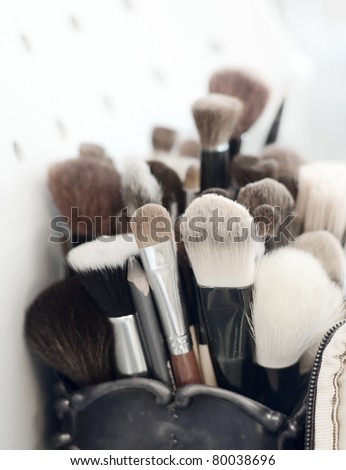 make up brush set - stock photo