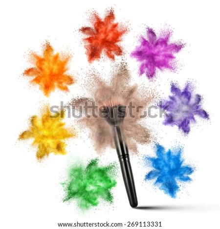 Make up brush with various powder explosion isolated on white background - stock photo