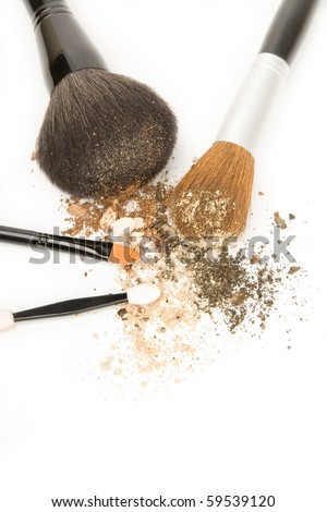 Make up brushes. - stock photo