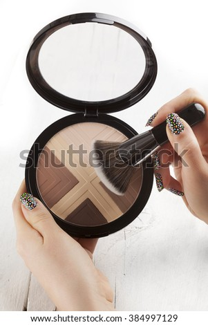 make-up brushes and Cosmetics, Set of makeup brush and contour palette, Women accessories - stock photo