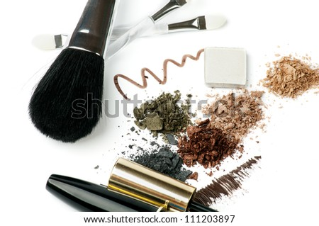 Make up Brushes, Eyeliner, Mineral Eyeshadow and Mascara isolated on white background