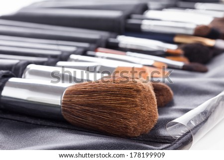 Make-up brushes in compact case