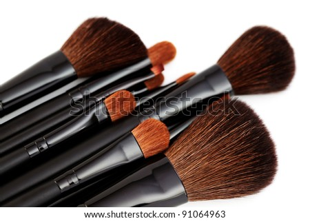 make-up brushes isolated on a white background - beauty treatment