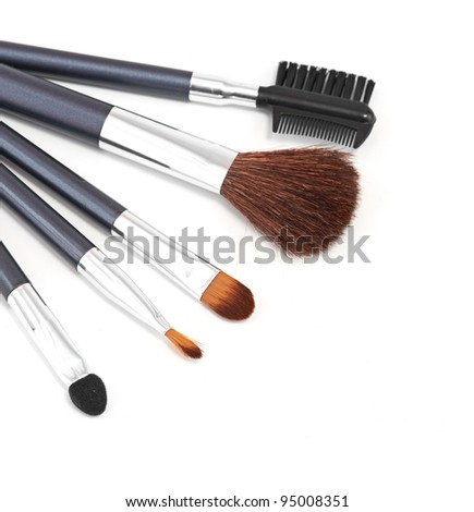 make-up brushes isolated on a white background - beauty treatment - stock photo