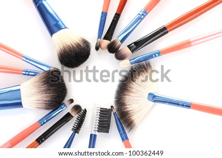 make-up brushes isolated on white - stock photo