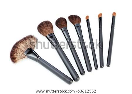 make-up brushes isolated on white background - beauty treatment - stock photo