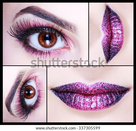 Make up Collage. Beautiful eyes, violet lips. Fashion look. Bright Holiday Makeup detail