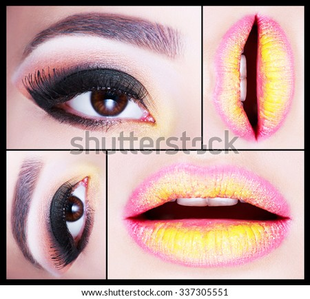 Make up Collage. Beautiful smoky eyes, pink-yellow lips. Fashion look. Holiday Make-up detail