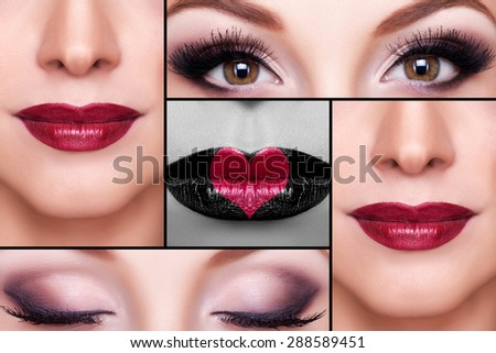 Make up collage of eyebrows, eyelashes and lips. Red lips. Concept of lips with heart on them - stock photo