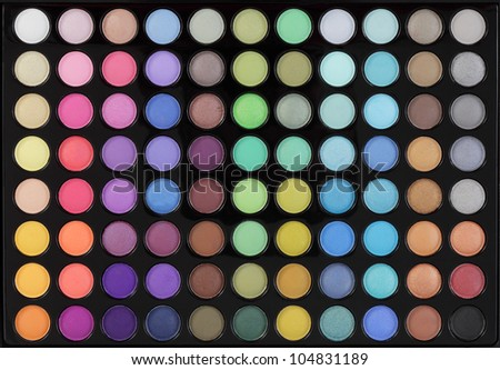 Make-up,  colorful eye shadows palette - stock photo