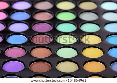 Make-up,  colorful eye shadows palette, selective focus - stock photo