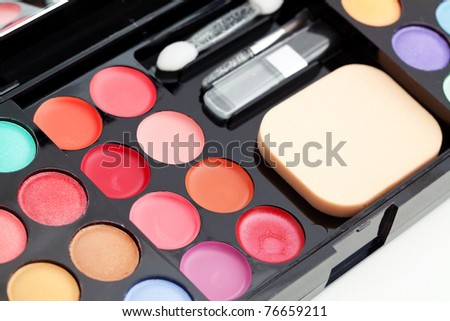 Make-up colorful eyeshadow palette closeup