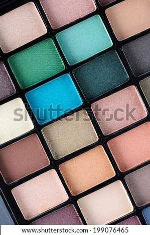 Make-up colorful eyeshadow palettes, closeup - stock photo