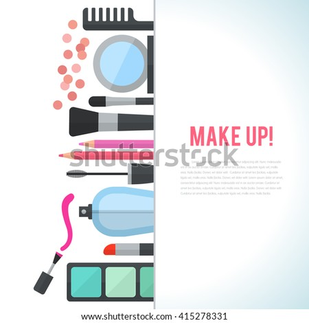 Make up concept flat illustration with cosmetics, makeup table, mirror, make-up brushes, perfume, nail polish and comb are laid out in row. Vertical concept design isolated on white background. - stock photo