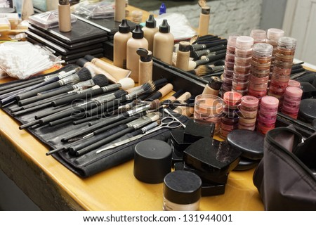 make-up cosmetics in dressing room - stock photo