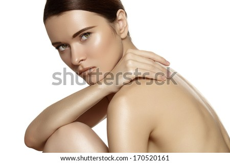 Make-up & cosmetics, manicure. Closeup portrait of beautiful woman model face with clean skin on white background. Natural skincare beauty, clean soft skin, manicure  - stock photo
