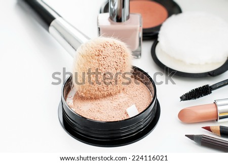 make up cosmetics natural  hair animal brush powder lipstick maskara nailpolish liner - stock photo