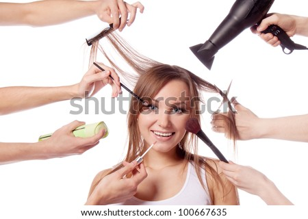 Make-up, cut, many hands - stock photo
