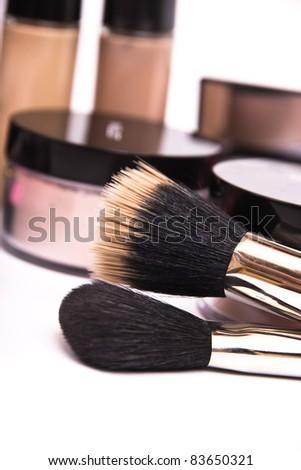 Make up equipment, macro photo on white background - stock photo