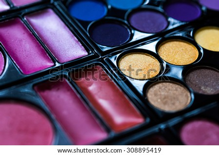 Make-up eye shadows palette, closeup. Selective focus - stock photo