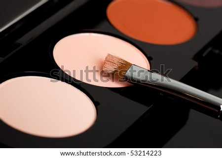 make-up eyeshadows and cosmetic brush