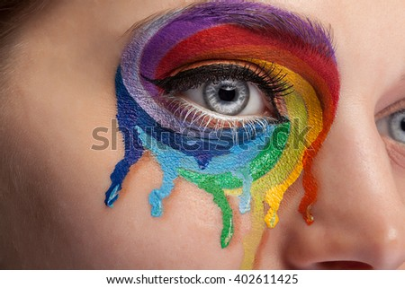 Make up from color rainbow crying on the eye - stock photo