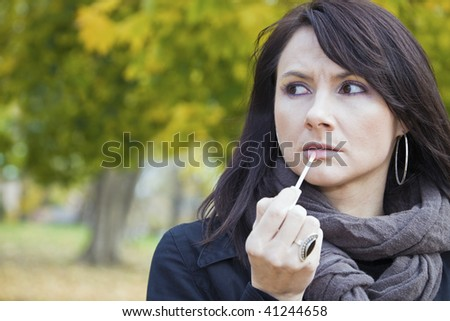Make up in the colorful park - stock photo