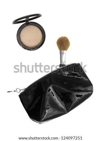 Make up items isolated against a white background - stock photo