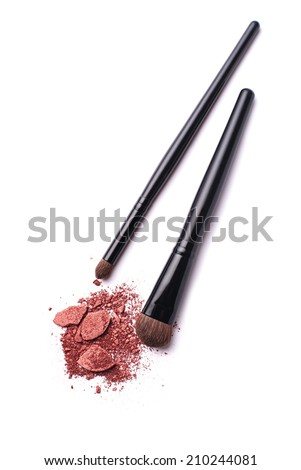 Make-up Powder and a Brush with white background - stock photo