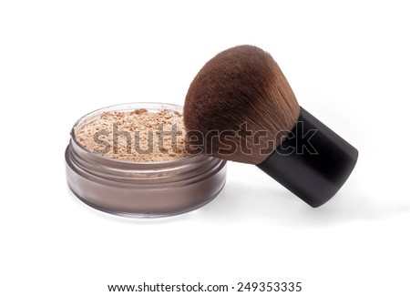 Make-up powder and brush isolated on white - stock photo