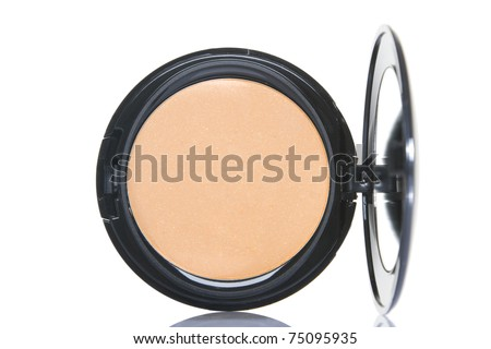 Make-up powder in box isolated on white - stock photo